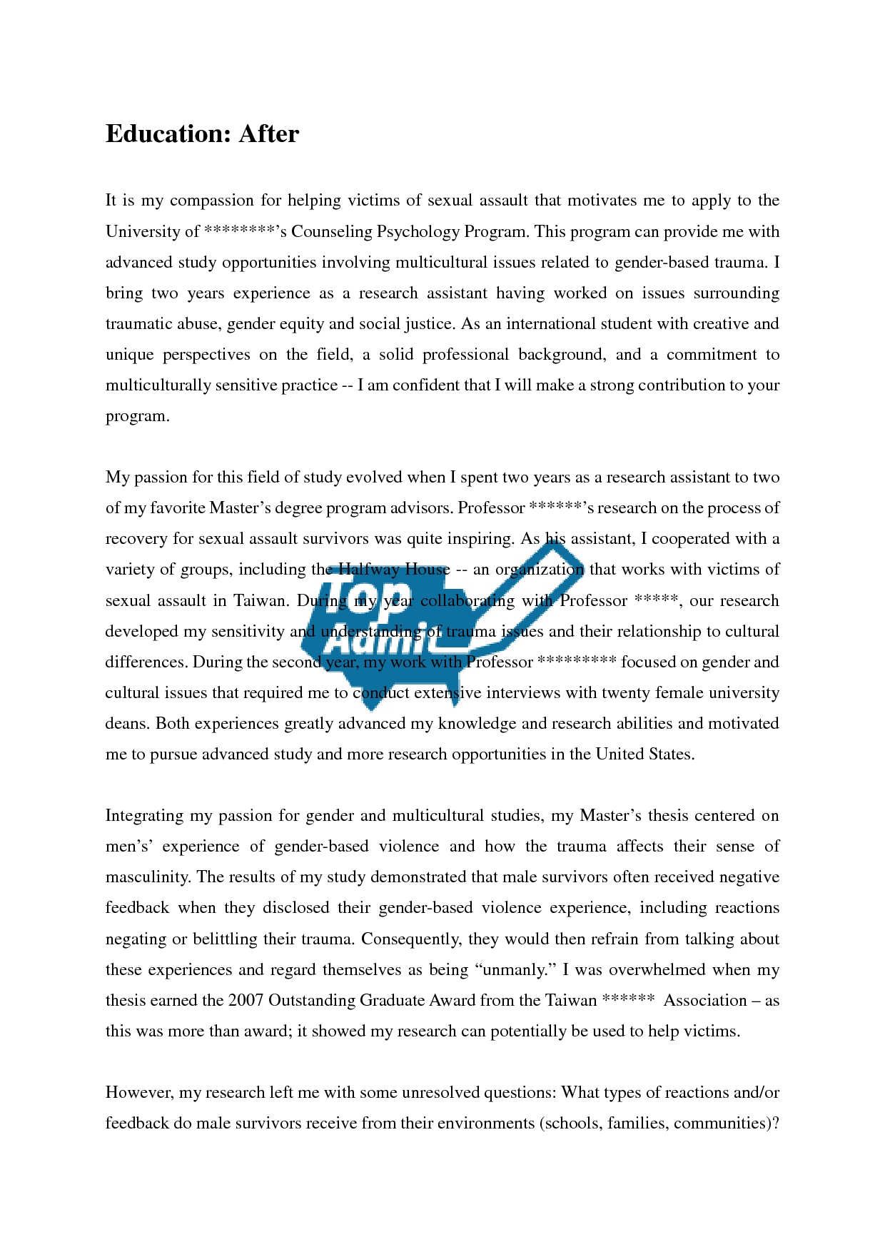 MBA Admission Essay Sample