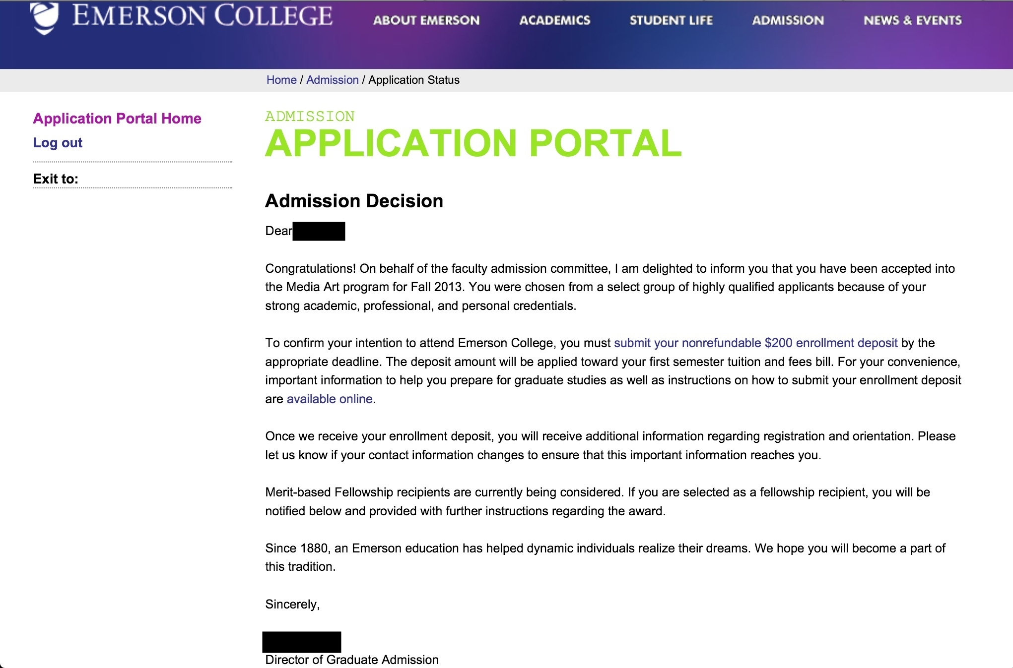 nyu acceptance letter informatin for letter university admission essay editing why not custom hq essays